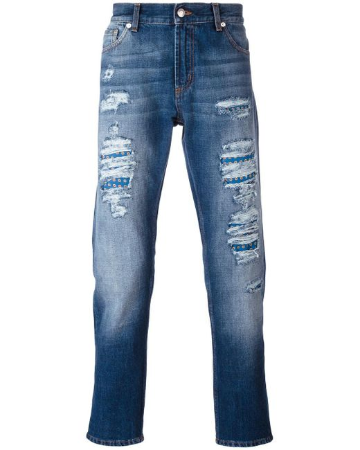 Alexander McQueen   Blue Scarf Detail Distressed Jeans for Men   Lyst