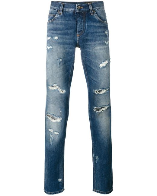 Dolce & Gabbana   Blue Ripped Detail Jeans for Men   Lyst