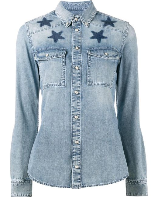 Givenchy star printed denim shirt in blue lyst for Givenchy 5 star shirt