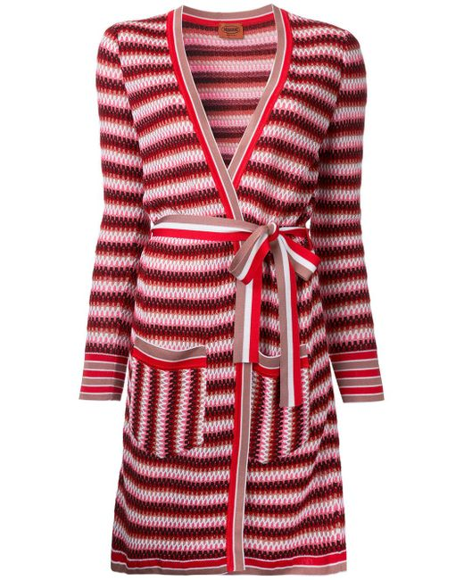 Missoni | Red Zig-zag Belted Cardi-coat | Lyst