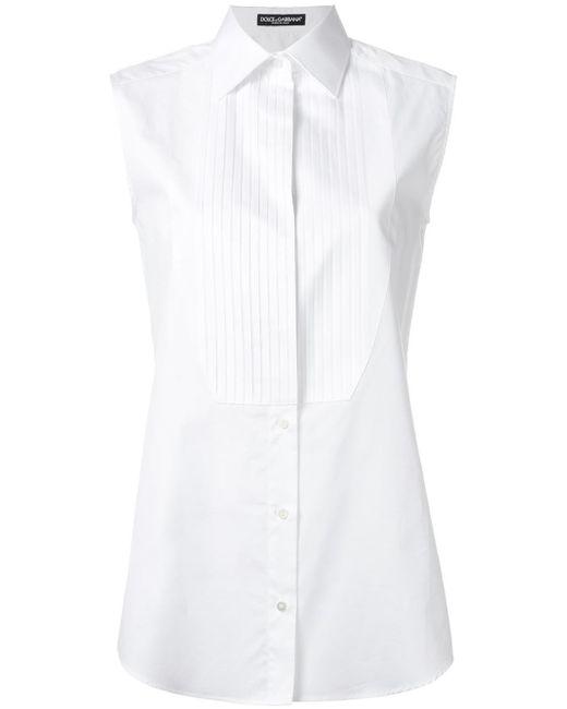 Dolce & Gabbana | White Piped Sleeveless Shirt | Lyst