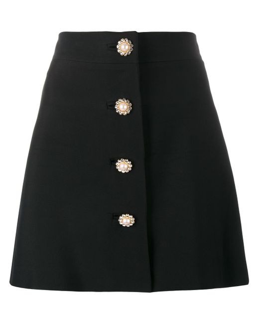 Miu Miu | Black - Pearl And Crystal Embellished Buttoned Mini Skirt - Women - Polyester/viscose/metal/glass - 44 | Lyst