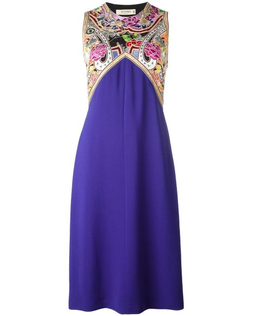 Etro | Purple Embroidered Trim Dress | Lyst