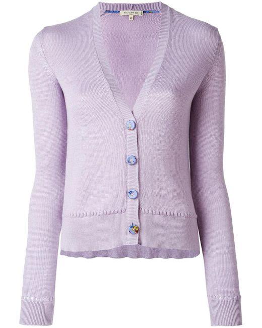 Etro   Purple Button Up Cardigan   Lyst