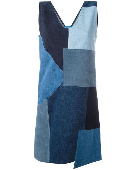 MiH Jeans | Blue Marten Patchwork Denim Dress | Lyst