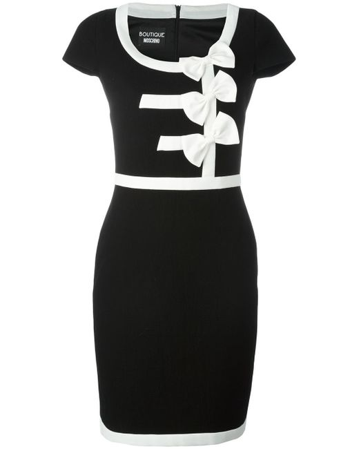 Boutique Moschino | Black Bow Detail Fitted Dress | Lyst