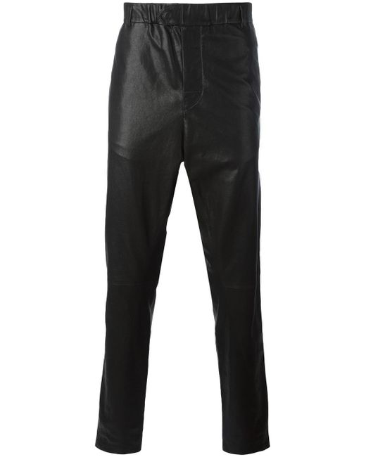 Ann Demeulemeester Grise   Black Leather Tapered Trousers for Men   Lyst