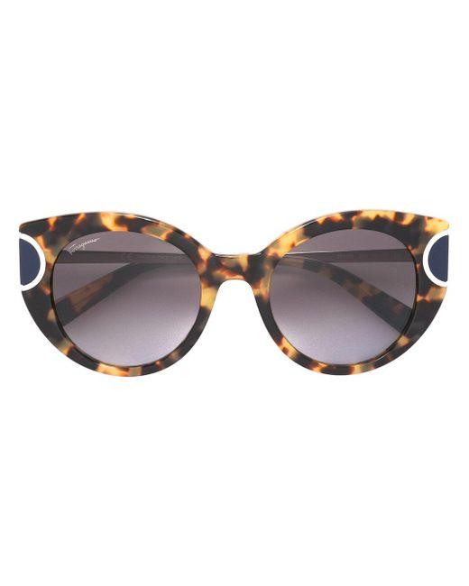 Ferragamo   Brown Tortoiseshell Cat Eye Sunglasses   Lyst
