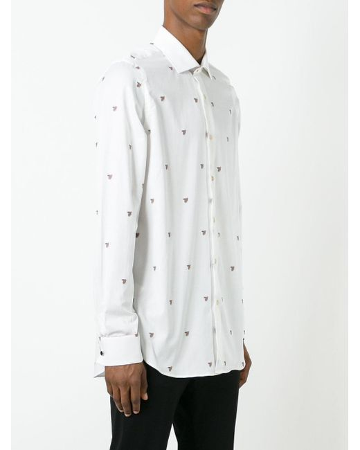 Paul smith bee embroidered shirt in white for men lyst