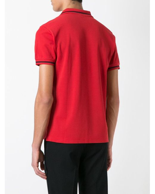 Dior homme bee embroidered polo shirt in red for men lyst
