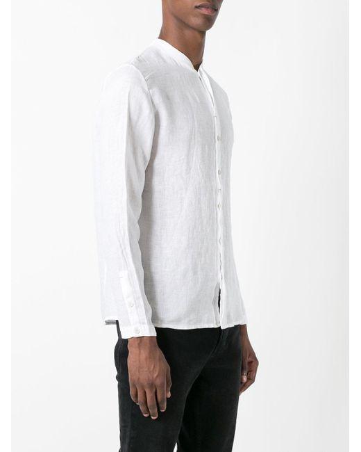 Transit collarless shirt in white for men lyst for Collarless shirts for men