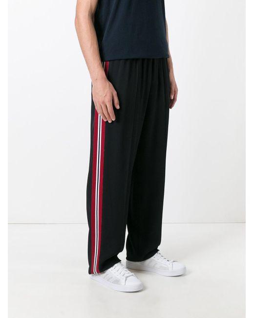 Msgm Contrast Stripe Track Pants In Black For Men Lyst