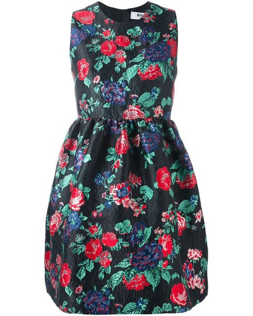 MSGM - Black Floral Print Dress - Lyst