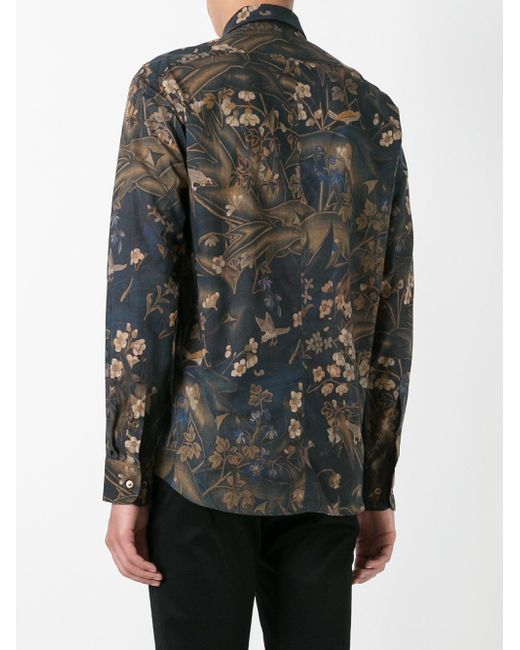 Dries van noten floral print shirt in blue for men lyst for Dries van noten mens shirt