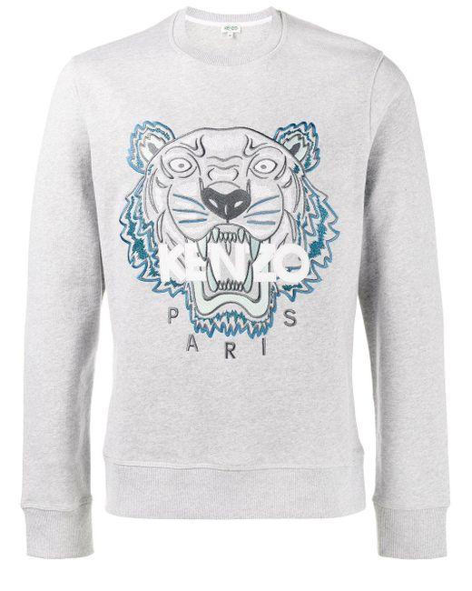 kenzo tiger logo sweatshirt in grey for men lyst. Black Bedroom Furniture Sets. Home Design Ideas