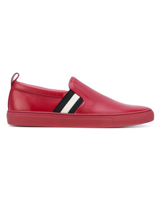 Bally | Red Stripe Panel Slip On Sneakers for Men | Lyst