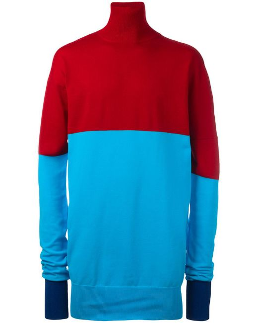J.W. Anderson | Red Roll Neck Bicolour Jumper for Men | Lyst