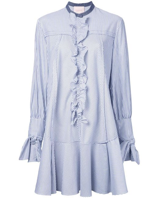 ROKSANDA | Blue Ruffled Trim Striped Shirt Dress | Lyst