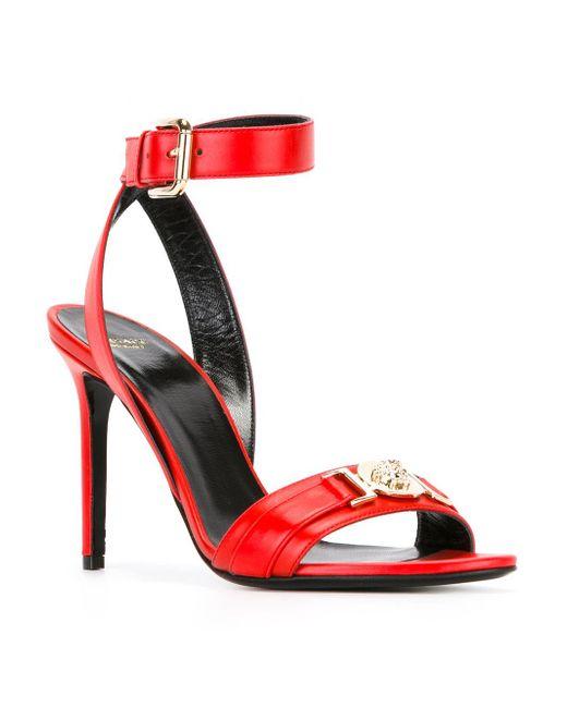 Versace Medusa Stiletto Sandals In Red Lyst