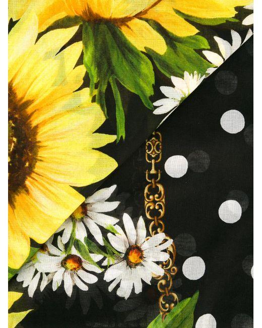Dolce Amp Gabbana Sunflower Polka Dot Scarf In Black Lyst