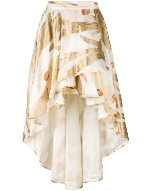 christian pellizzari high low floral skirt in lyst