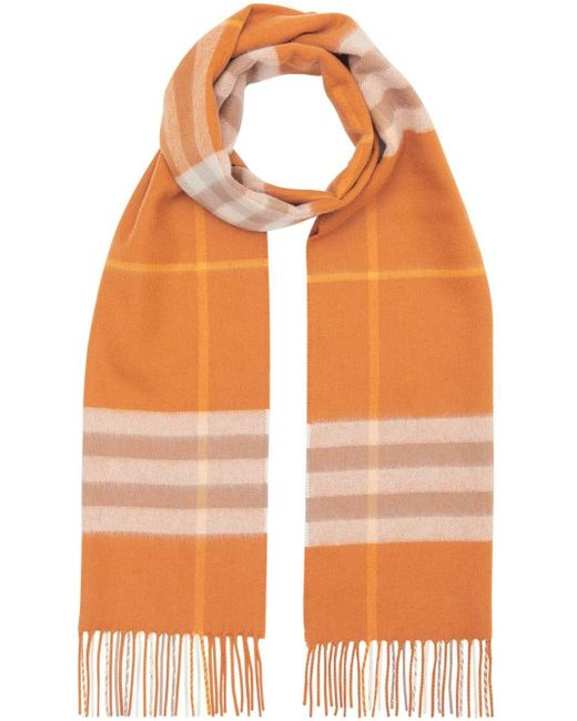 Burberry チェック スカーフ Orange
