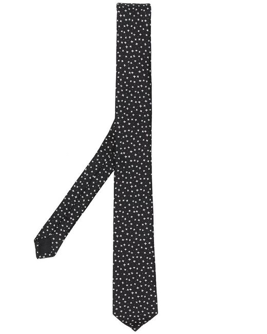 Saint Laurent - Black Star Jacquard Tie for Men - Lyst