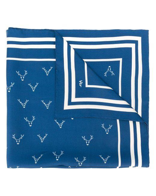Holland & Holland プリント シルクスカーフ Blue