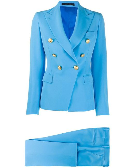 Tagliatore Blue Double Breasted Two Piece Suit