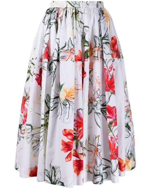 Юбка Миди С Цветочным Принтом Alexander McQueen, цвет: White