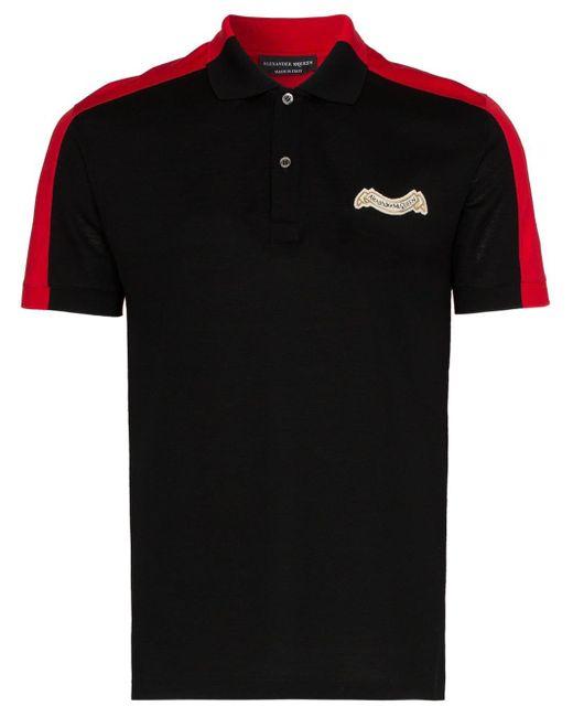 メンズ Alexander McQueen ロゴ ポロシャツ Black