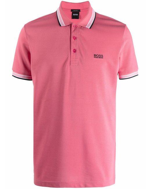 メンズ BOSS by Hugo Boss ストライプトリム ポロシャツ Pink