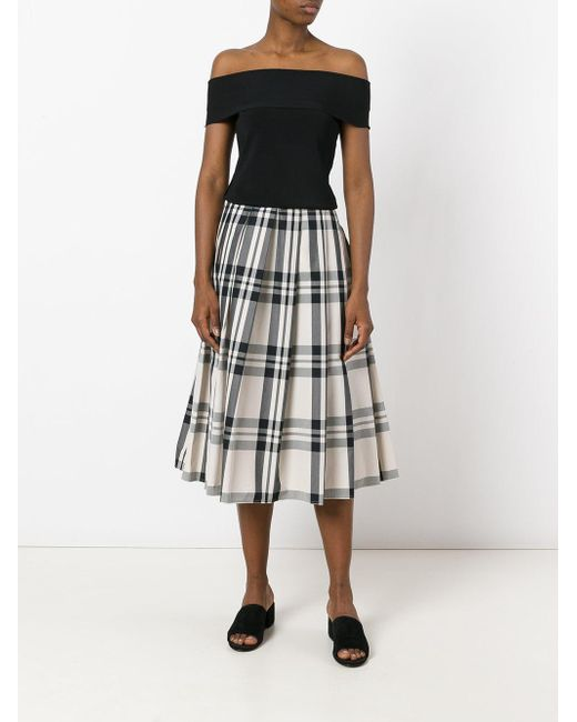 sofie d hoore check pleated skirt in black lyst