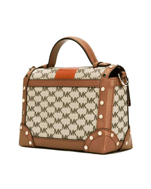 Michael michael kors Logo Pattern Structured Tote in Brown ...