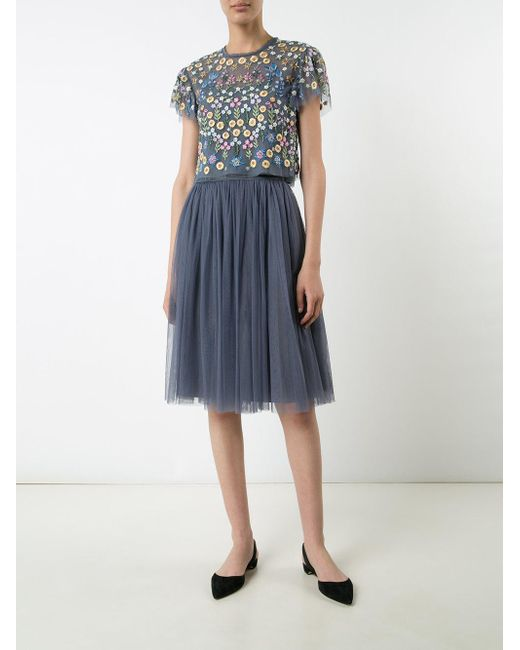 Needle thread floral embroidered blouse in blue lyst