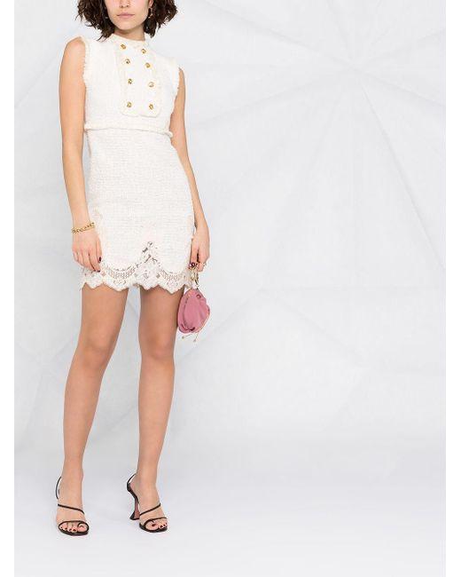 Elisabetta Franchi ノースリーブ ツイードドレス White