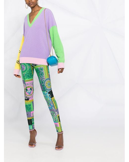 Versace Green Leggings mit Print