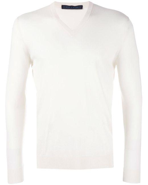 Kiton | White V-neck Jumper for Men | Lyst