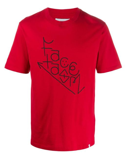 メンズ Facetasm ロゴ Tシャツ Red