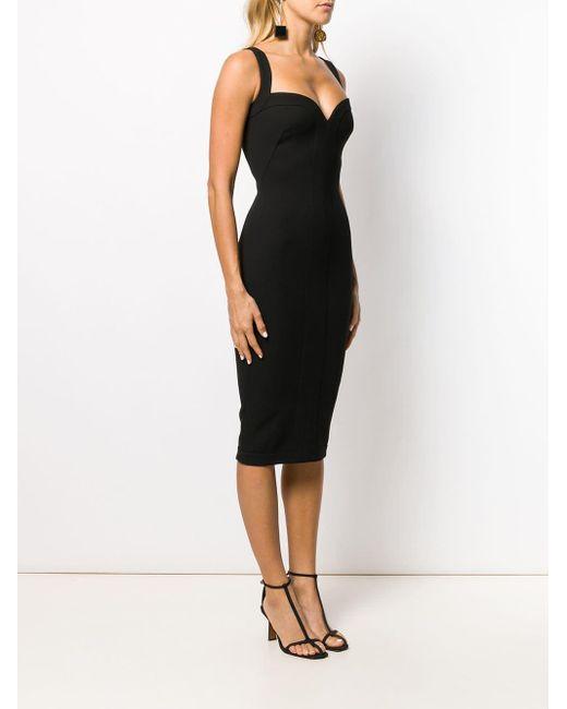 Victoria Beckham Black Schmales Kleid mit Herzausschnitt