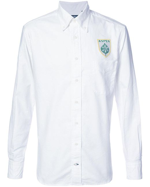 Gitman Brothers Vintage Logo Embroidered Shirt In White