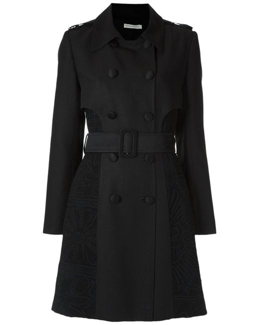Martha Medeiros | Black Lace Inserts Trench Coat | Lyst