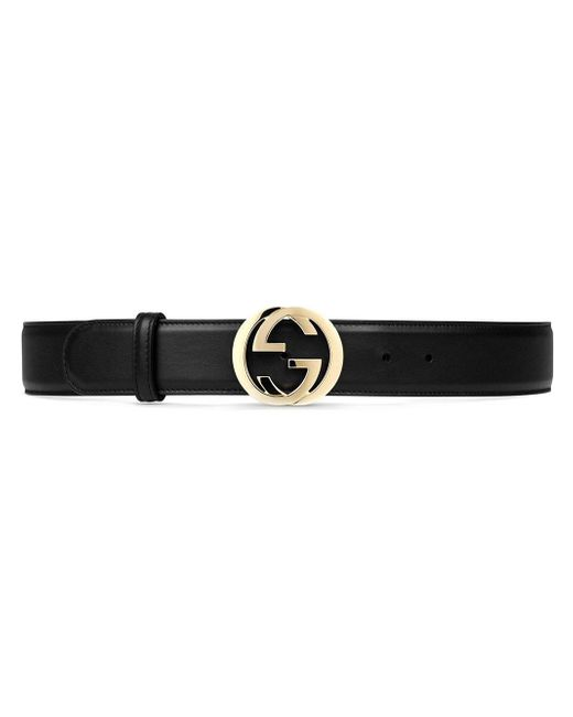 Gucci | Black Leather Belt With Interlocking G Buckle | Lyst