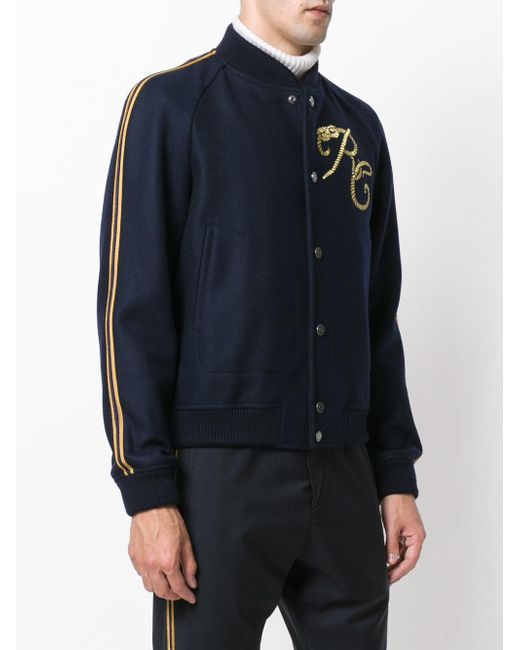 Roberto cavalli embroidered varsity jacket in blue for men