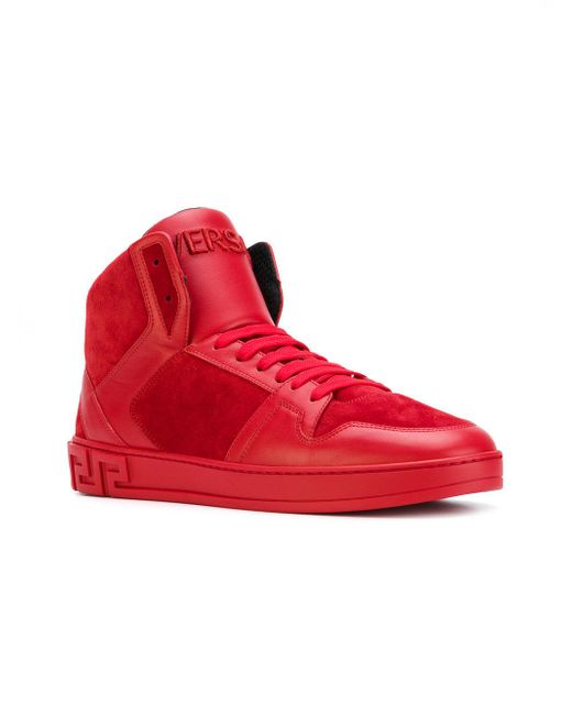 Versace Greek Key High-top Sneakers in Red for Men | Lyst