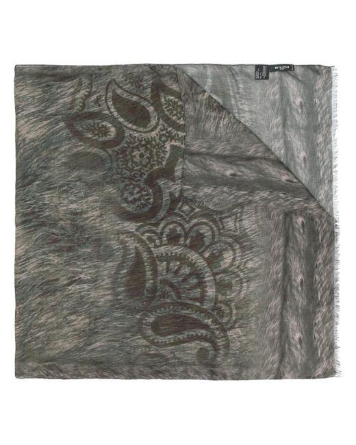 Etro   Gray Animal Print Scarf for Men   Lyst
