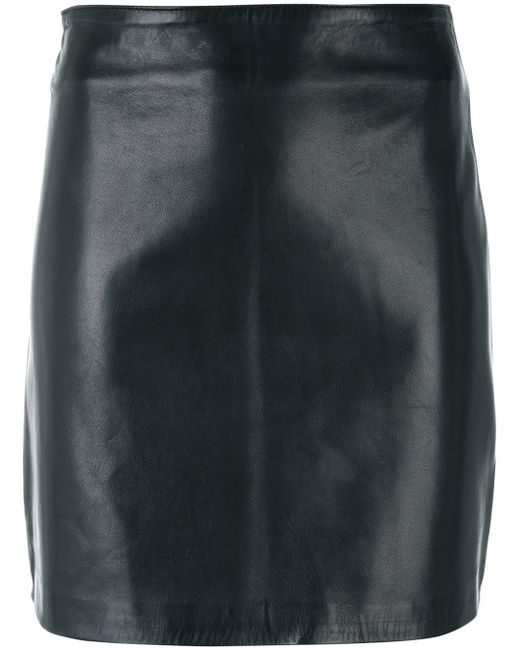 manokhi fitted leather skirt in black lyst