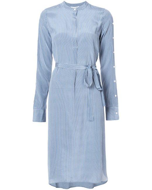 Robert Rodriguez | Blue Belted Stripe Shirt Dress | Lyst