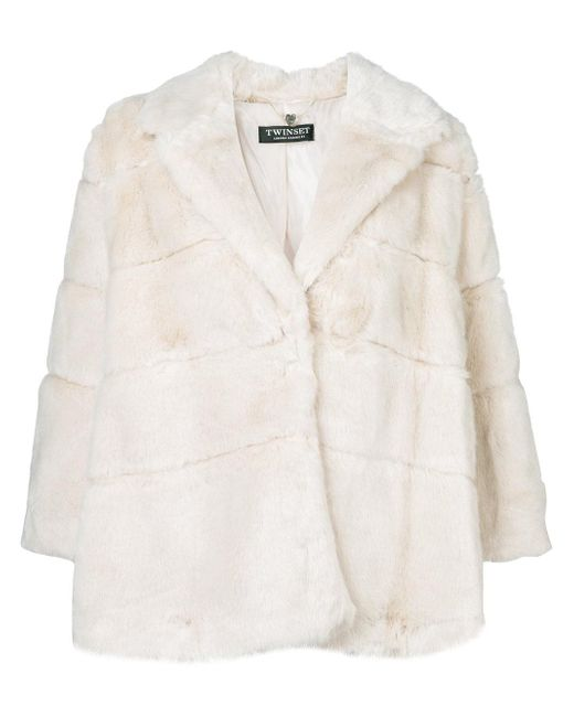 Twin Set   White Cropped Faux Fur Coat   Lyst