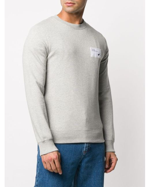 メンズ A.P.C. ロゴ スウェットシャツ Gray